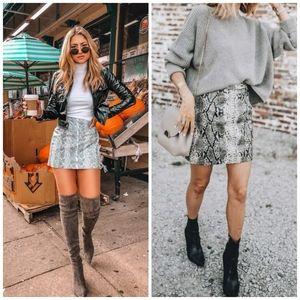 New Faux Snake Skin Mini Skirt Trendy Fall